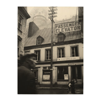 Quebec Canada Street Photography 1930's Photograph Wood Wall Decor