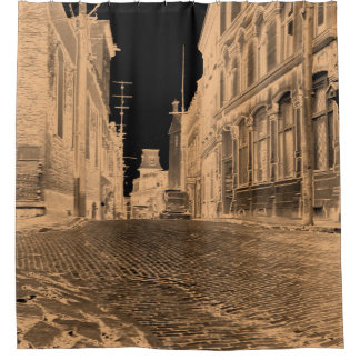 Quebec Canada Street with Car 1930's black tan Shower Curtain