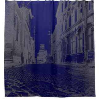 Quebec Canada Street with Car 1930's Blue Shower Curtain