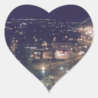 Quebec City at Night Heart Sticker