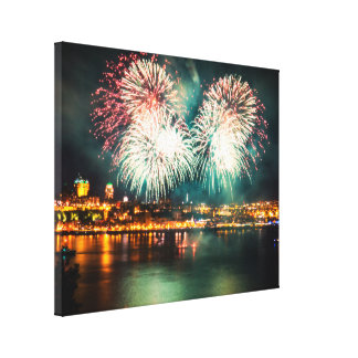 Quebec City | Bright Fireworks Canvas Print
