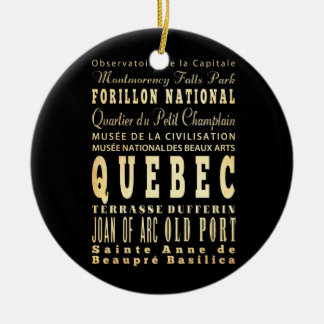 Quebec City of Canada Typography Art Christmas Ornament