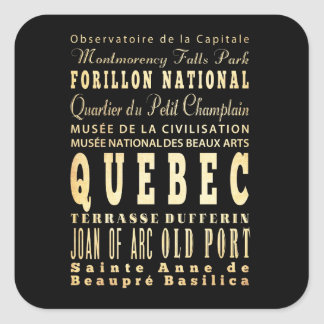 Quebec City of Canada Typography Art Square Sticker