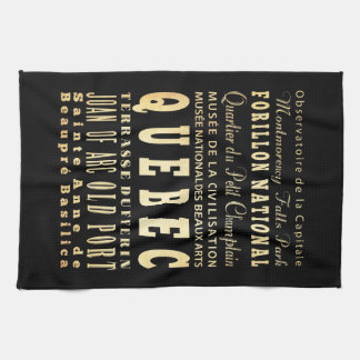 Quebec City of Canada Typography Art Tea Towel