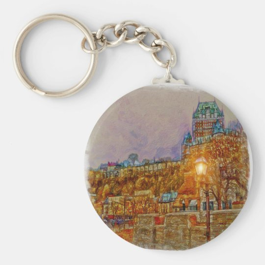 Quebec City Old Town by Shawna Mac Key Ring