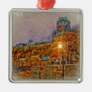 Quebec City Old Town by Shawna Mac Silver-Colored Square Decoration