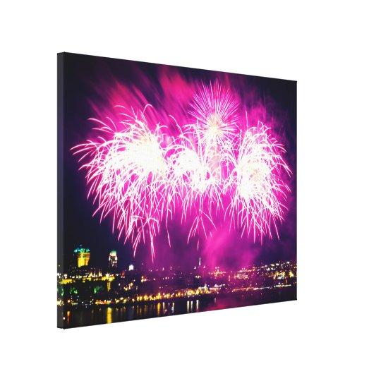 Quebec City | Pink Fireworks Canvas Print