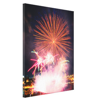 Quebec City | Pink Fireworks Canvas Print