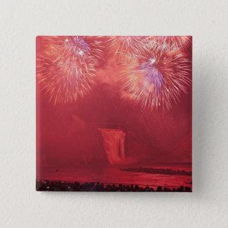 Quebec City, Quebec, Canada. Fireworks at Parc 15 Cm Square Badge