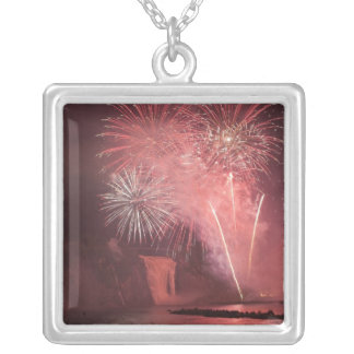 Quebec City, Quebec, Canada. Fireworks at Parc 2 Silver Plated Necklace