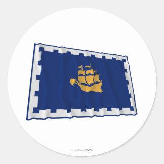 Quebec City Waving Flag Classic Round Sticker