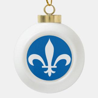 QUEBEC Flag Ceramic Ball Christmas Ornament