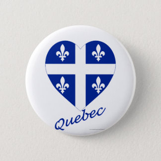 Quebec Flag Heart with Name 6 Cm Round Badge