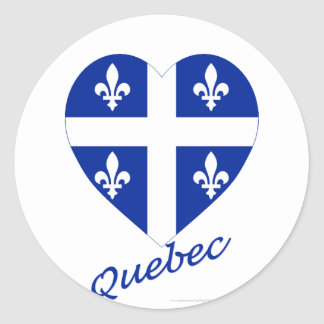 Quebec Flag Heart with Name Classic Round Sticker