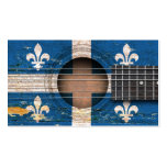 Quebec Flag on Old Acoustic Guitar Business Card Templates