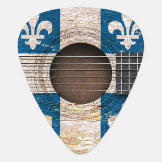 Quebec Flag on Old Acoustic Guitar Plectrum