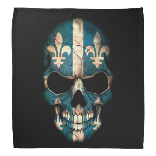 Quebec Flag Skull on Black Head Kerchiefs