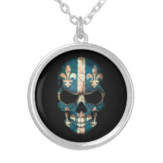 Quebec Flag Skull on Black Silver Plated Necklace