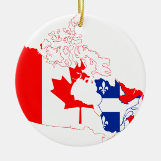 Quebec in Canada flag, map Christmas Ornament