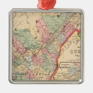 Quebec Map by Mitchell Silver-Colored Square Decoration