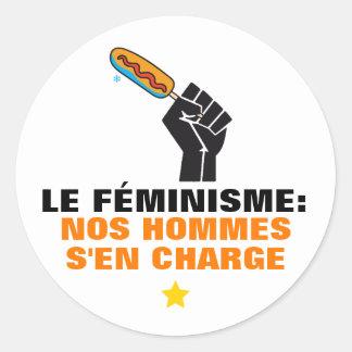 Quebec radical humour liberal feminism satire classic round sticker