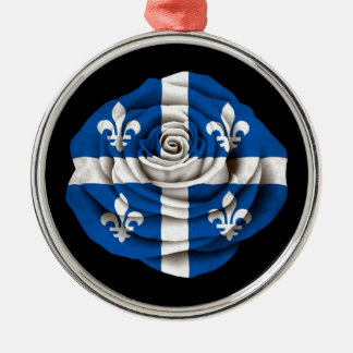 Quebec Rose Flag on Black Silver-Colored Round Decoration