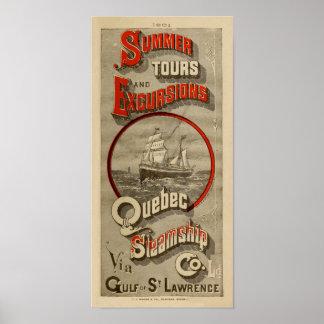 Quebec Steamship Co. Advertising antique Poster