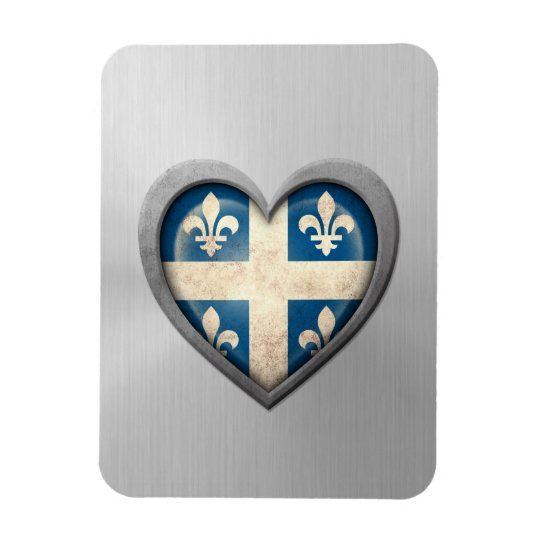 Quebecois Heart Flag Stainless Steel Effect Rectangular Photo Magnet