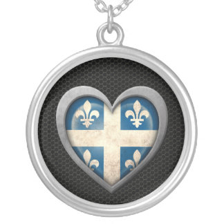 Quebecois Heart Flag Steel Mesh Effect Necklace
