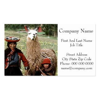 Quechua Woman with Two Llamas Photo Double-Sided Standard Business Cards (Pack Of 100)