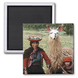 Quechua Woman with Two Llamas Photo Magnet