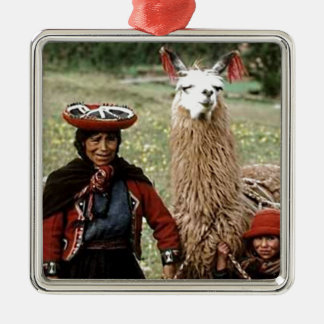 Quechua Woman with Two Llamas Photo Silver-Colored Square Decoration