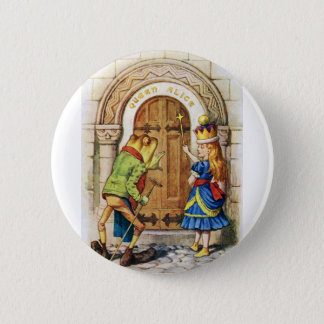 QUEEN ALICE AND THE FROG IN WONDERLAND 6 CM ROUND BADGE
