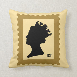 Queen and Crown Stamp Throw Pillow