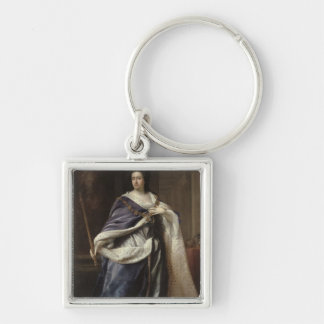 Queen Anne, 1703 Silver-Colored Square Key Ring