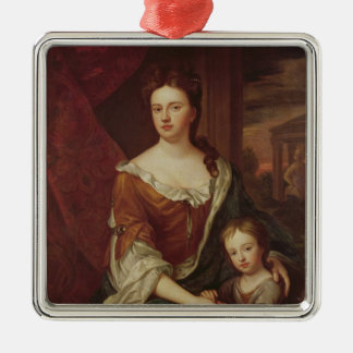 Queen Anne and William, Duke of Gloucester Silver-Colored Square Decoration
