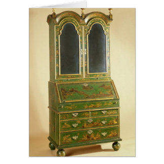 Queen Anne bureau cabinet with ball feet c 1710 Card