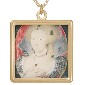 Queen Anne of Denmark, miniature Gold Plated Necklace