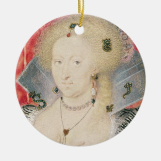 Queen Anne of Denmark, miniature Round Ceramic Decoration