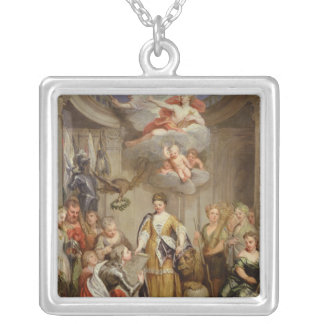 Queen Anne presenting plans of Blenheim military Silver Plated Necklace