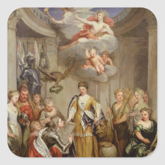Queen Anne presenting plans of Blenheim military Square Sticker