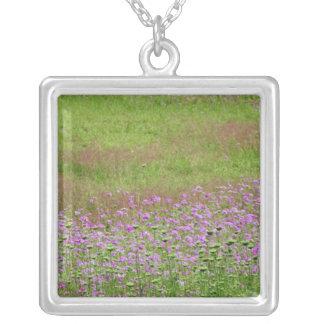 Queen Anne's Lace Daucus carota) growing Square Pendant Necklace