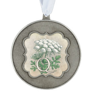 Queen Anne's Lace Flower Monogram Art Scalloped Pewter Ornament