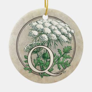 Queen Anne's Lace Flower Monogram Christmas Ornaments