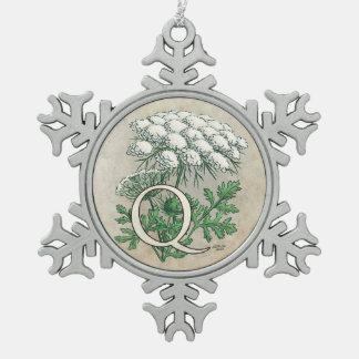 Queen Anne's Lace Flower Monogram Pewter Snowflake Decoration