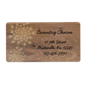 Queen Anne's Lace On Wood Label Shipping Label