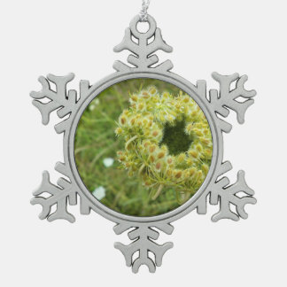 Queen Anne's Lace Photo Pewter Snowflake Decoration