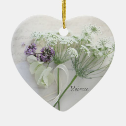 Queen Anne's lace with script Christmas Ornament