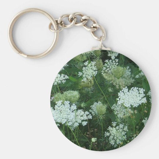 'Queen Ann's Lace' Basic Round Button Key Ring