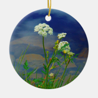 Queen Ann's lace blue lake Christmas Tree Ornament